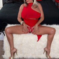 Beautiful 60 plus MILF Sally D'Angelo seduces a young man in crotchless panties