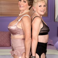 Top 60plusmilfs ladies Jewel and Bea Cummins model lingerie for a younger man