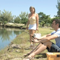 Blonde cougar Tyra Love seduces a boy while he's fishing in a white miniskirt