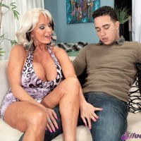 Soon to be 60+ MILF Sally D'Angelo seduces a young Latino boy in a short dress