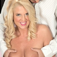 Hot blonde granny Samantha Ray has her nice tits fondled and her twat licked