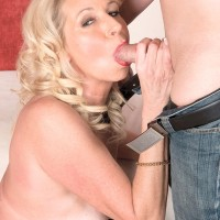 Blonde MILF over 60 Nikki Chevious sucks a dick with her tan lined body exposed