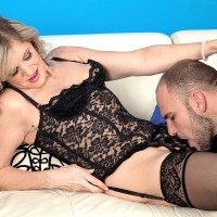 Petite MILF over 60 Cami Cline has her pussy licked while wearing sexy lingerie