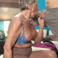 Blonde nan Sandra Ann takes her young lover's cock in her mouth in pantyhose