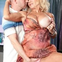 Mature 60 plus MILF Cara Reid flashing big tits