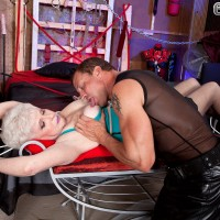 Over 60 granny Jewel bound for BDSM sex games in black nylons and heels