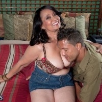 Buxom brunette mom over 60 Rochelle Sweet having big juggs licked