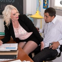 Buxom mature blonde teacher Angelique DuBois sucks and fucks student