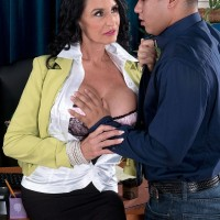 Naughty MILF over 60 Rita Daniels ass fucked by younger man in office