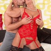 Blonde babe over 60 Regi getting fucked in red lingerie and black stockings