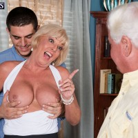 Blonde 60 plus MILF Cara Reid exposing huge granny juggs for tit sucking