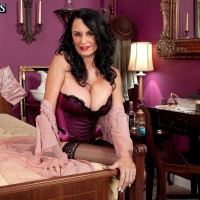 Over 60 MILF Rita Daniels sucking cock in sexy lingerie, stockings and high heels