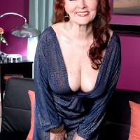 Busty redhead mom over 60 Katherine Merlot exposing big juggs and taking doggystyle fuck