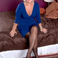Over sixty MILF Jeannie Lou flashing tits and spreading pantyhose adorned legs
