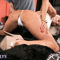 Busty MILF over 60 Sally D'Angelo flashing white panty upskirt and sucking cock