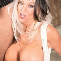 Busty over 60 MILF Sally D'Angelo spreading pussy and giving blowjob to BBC