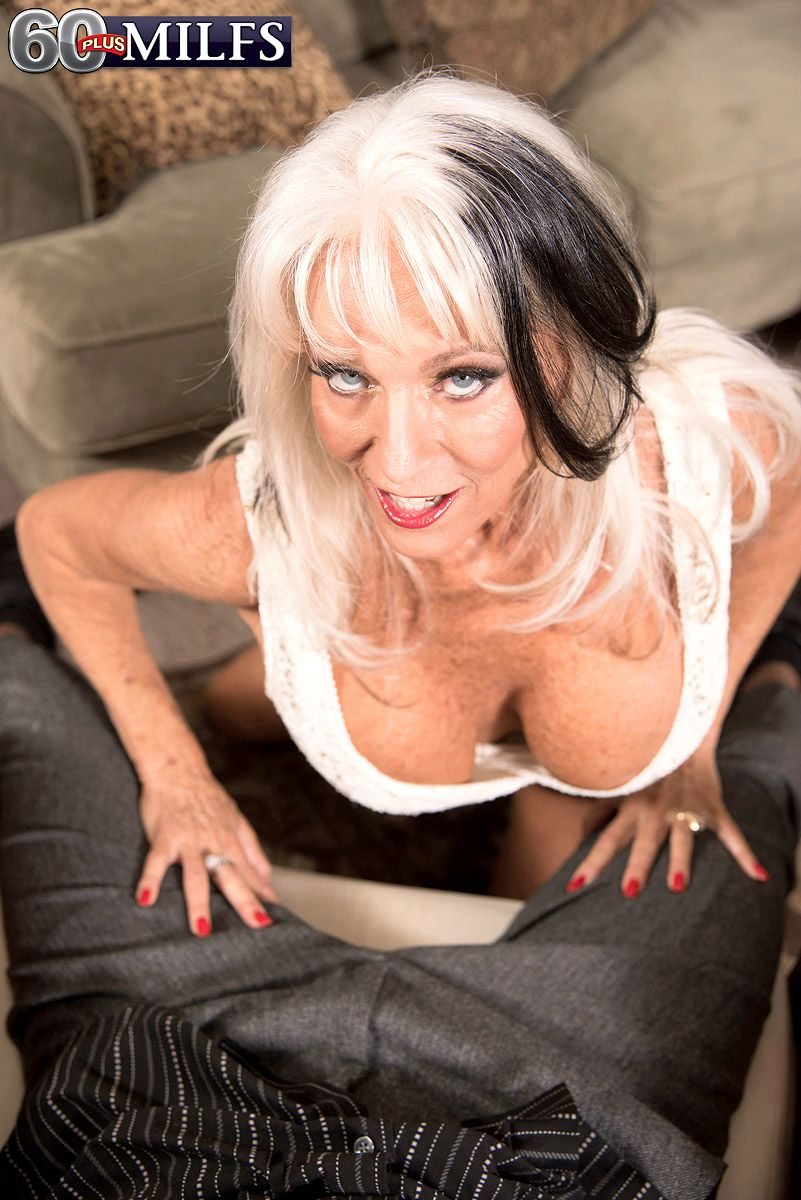busty over 60 milf sally d'angelo spreading pussy and giving blowjob