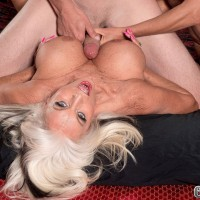Blonde over 60 lesbians Cara Reid and Sally D'Angelo sucking fat cock in FFM 3some