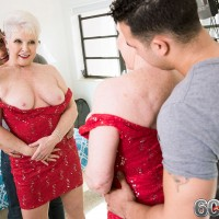 Busty 60 plus MILF Lola Lee giving large cock titjob and blowjob in high heels