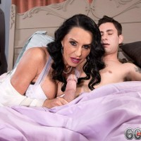 Top rated over 60 pornstar Rita Daniels sucking cock while cuckold hubby watches