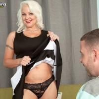 Busty over 60 MILF Veronica Vaughn giving younger man a blowjob