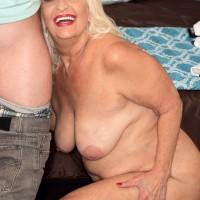 Chunky 60 plus MILF Vikki Vaughn baring big granny butt and saggy mature breasts