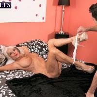 Buxom 60 plus MILF Sally D'Angelo sucking big cock in white thong panties