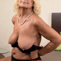 Buxom blonde mom over sixty Alice flashing big breasts and blowing huge cock