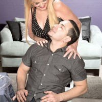 Over 60 blonde maid Charlie jerking cock fully clothed