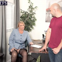 Chunky 60 plus grandmother Alice tit fucking cock in office