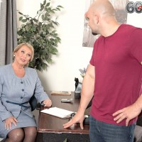 Blonde over 60 granny Alice whipping out big juggs in office for tit fucking