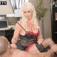 Blonde 60+ MILF Madison Milstar jerking dick in sexy lingerie and stockings
