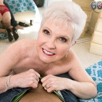 Over 60 granny model Jewel striking sexy solo poses in pantyhose before giving bj