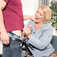 Nylon clad blonde granny Alice tit fucking cock for XXX photo session