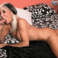 Big boobed 60 MILF Sally D'Angelo revealing upskirt underwear for younger stud