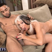Chesty older lady Sally D'Angelo giving titjob and bj in XXX granny porn shoot
