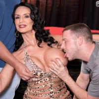 Brunette 60 plus MILF pornstar Rita Daniels stars in MMF threesome sex