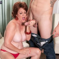 MILF over 60 Gabriella LaMay tit fucking and blowing long penis