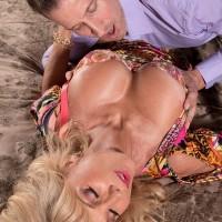 Buxom blonde MILF over 60 Cara Reid baring nice thong attired butt cheeks