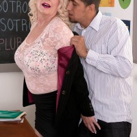 Chesty over 60 teacher Angelique DuBois exposing pierced nipples for licking
