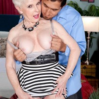 60 plus MILF Jewel lets her large granny boobs loose for younger man