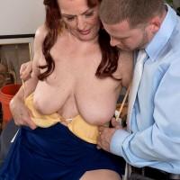 Redheaded over 60 MILF Katherine Merlot flashing upskirt underwear