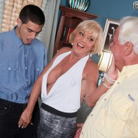 Busty MILF over 60 Scarlet Andrews fucking younger an in front of cuckold hubby
