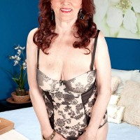 Mature redhead granny pornstar Katherine Merlot sucking dick in pantyhose