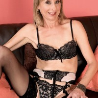 Petite blonde 60plusmilf.com granny Patsy modelling sexy lingerie and nylons