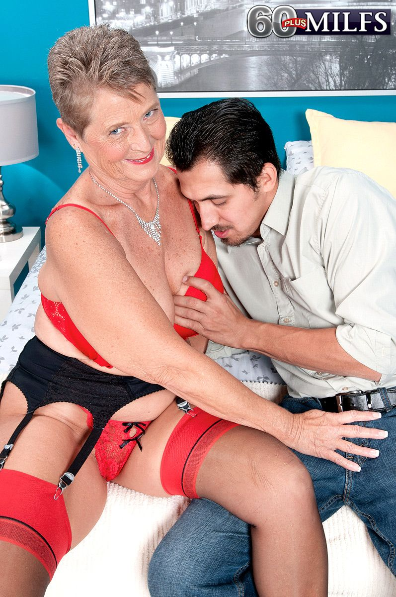 Chubby short haired 60 MILF Joanne Price getting naughty for XXX granny porn shoot
