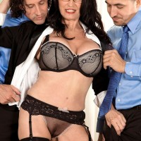 Over 60 MILF pornstar Rita Daniels stars in MMF threesome sex scene