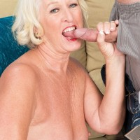 Blonde 60 plus MILF Scarlet Andrews fucks stud in lingerie and stockings