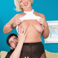 Over 60 granny Jeannie Lou flashing mature tits and sucking cock