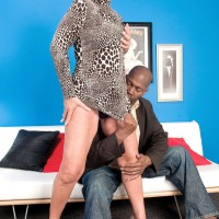 Naughty mature porn featuring Jeannie Lou giving hung black man a blowjob
